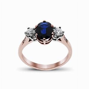 Sapphire & Diamond Rose Gold Three Stone Ring 7 x 5 mm
